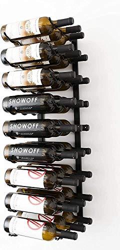 GLYYR Weinregal Wandserie 1 Wandmontierter Metallweingestell (915mm, 9 Flaschen, gebürstetes Nickel) (Color : Satin Black, Size : 18 Bottles)