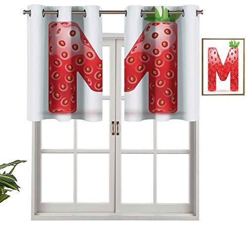 Hiiiman Cortinas con ojales para ventana, diseño vegano, con diseño de frutas rojas maduras de verano frescas, juego de 2, 42 x 24 pulgadas para ventana de cocina