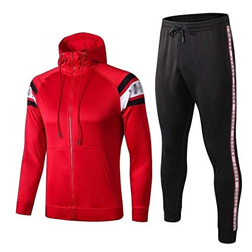 ZHWEI Nueva temporada Competición club de fútbol uniforme, de manga larga Traje-entrenamiento de fútbol, los mejores regalos for los hombres Q486 Respirable (Color : Red, Size : M)