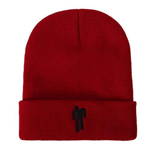 XQ Cappello Lavorato a Maglia Unisex Billie Eilish Cappellino di Lana Hip-Hop Cappelli Slouchy di Moda All'Aperto Invernale 05298420,Crimson