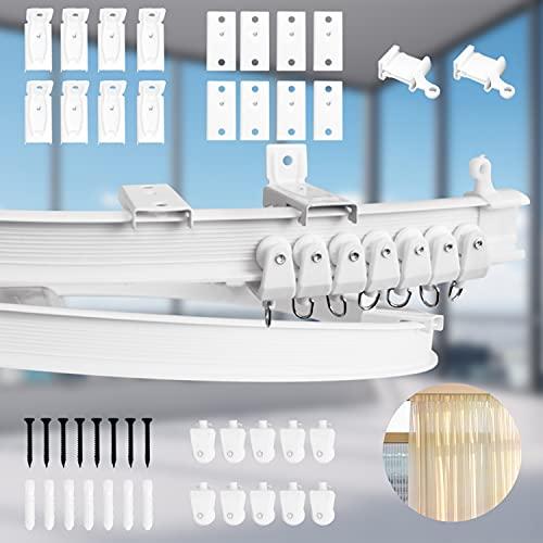 J TOHLO 2 Metros Riel de Plástico Flexible para Cortina Riel Cortina Techo Curvo Montaje Cortina Techo Riel Curvo Ventanas Suaves para Windows Cortinas Separador de Ambientes