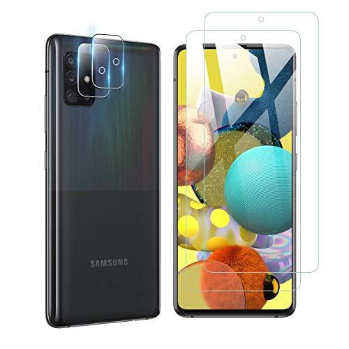 【2+2】Galaxy A51 5G ガラスフィルム(2枚入)+カメラフィルム(2枚入)Aerku SC-54A SCG07 強化ガラスフ...