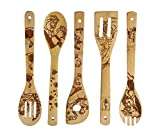 Halloween Gift Idea Utensil Burned Wooden Spoons Set House Warming Wedding Present Slotted Spoon 5 Piece ? (Beauty and the Beast)