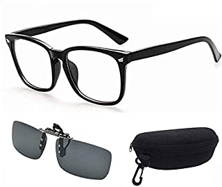 Computer Glasses + Sun Glasses Clip, Blue Light Filter Gaming Glasses Eyewear Blocking UV Anti Eye Fatigue Transparent Len...