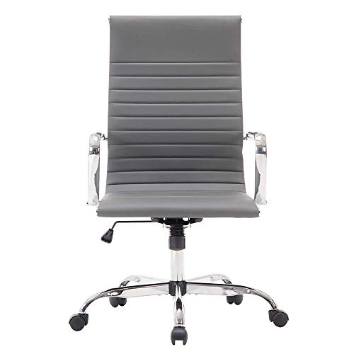 Sidanli Gray Computer Chair Ribbed Office Chair