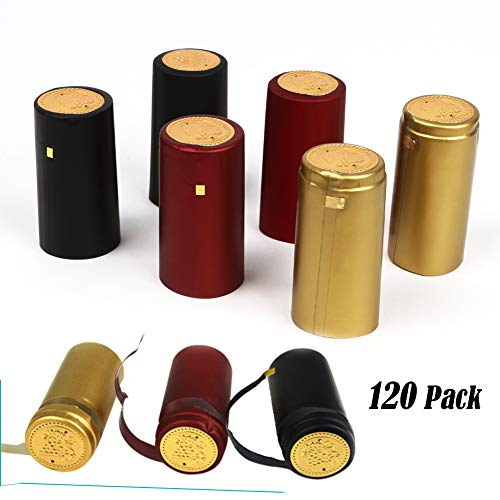 HOTOOLME Schrumpfkapseln PVC Weinflaschen-Kapseln 120PCS mit AbreißLasche für Wein Flaschen – Schwarz, Rot, Gold