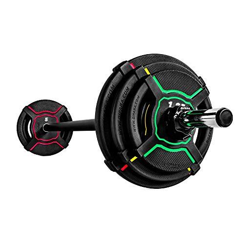 GIPARA FITNESS Obsydian Pump-Set, 9-teilig, aus Urethan |6 x 2-Grip Hantelscheiben 2 x 1,25 kg, 2 x 2,5 kg, 2 x 5 kg, 1 Langhantel 2,5 kg, 2 x Verschlüsse | Für Crossfit, Hot Iron und Body Pump