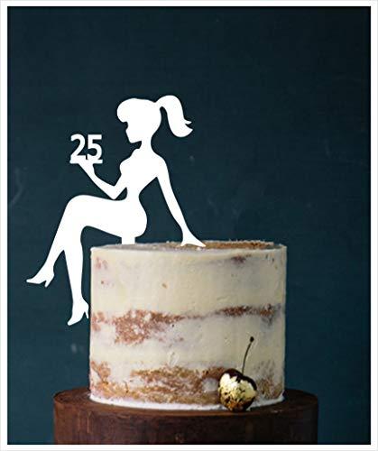 Figura decorativa para tarta de cumpleaños con texto en inglés 'Sweet 16, Sweet 18', número para decoración de cumpleaños, color blanco, 25 unidades