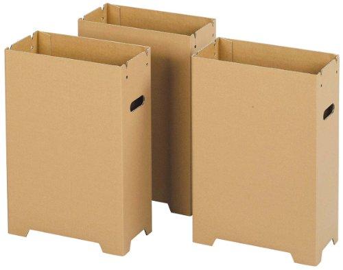 下村企販 ダンボール スリム ダストボックス 脚付き 3個組 内面撥水加工 分別 ゴミ箱 LLサイズ 対応 31916