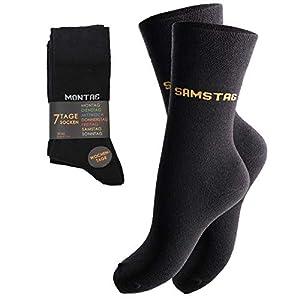 7 Paar modische Socken für Sie & Ihn mit farbigen Wochentag-Motiv , für leichtes Sortieren weiches & elastisches Baumwollmaterial hervorragende Passform durch Elasthan
