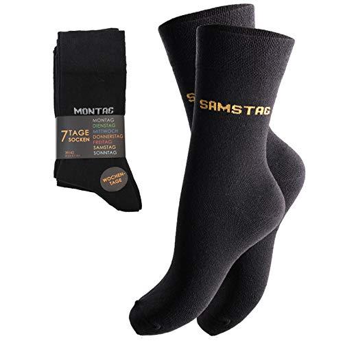 feelzone 7 Paar Unisex Socken mit Wochentagen (39-42, schwarz)
