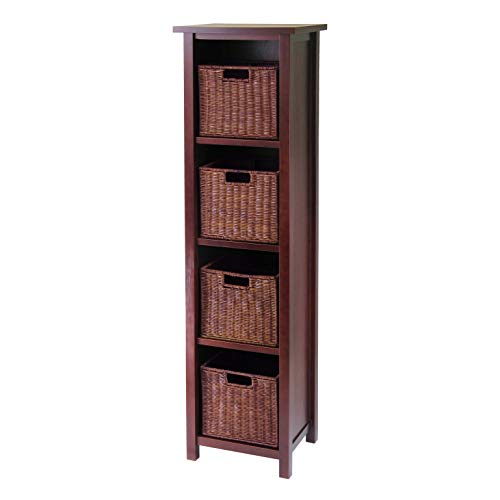 5 Tier Open Cabinet in Antique Walnut Finish and 4 Rattan Baskets in Antique Walnut Finish