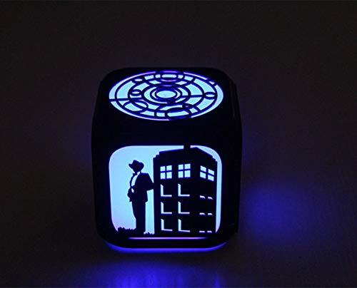 HHIAK666 Mysteriöse Doctor Time Machine Creative 3D Stereo Kleiner Wecker, Led Kleine Nachtlicht Elektronische Uhr 8,8 cm Schwarze Shell A
