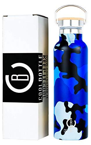 BeCoolBottle - Modello Mimetic Sport - 600 ml - Bottiglia Termica per Acqua in Acciao Inox -Priva di BPA - Borraccia Sportiva - Borracce Termiche per Bambini, Scuola, Ufficio, Sport, Palestra (Blu)