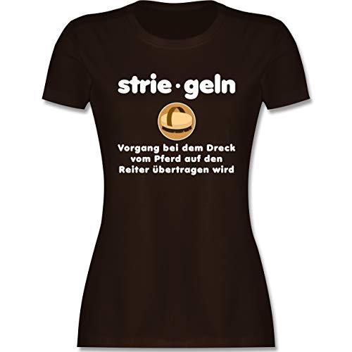 Shirtracer Pferde - Striegeln Definition - M - Braun L191 - Tailliertes Tshirt für Damen und Frauen T-Shirt