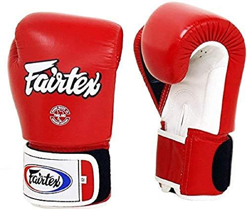 Fairtex Boxhandschuhe / Boxhandschuhe, Muay Thai-Stil, Sparring-Handschuhe (227 g, rot/weiß/schwarz mit weißem Rand)