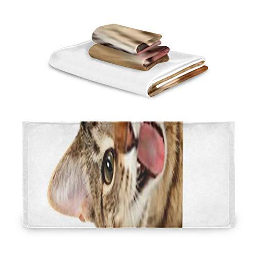 Juego de toallas de 3 piezas, juego de toallas de baño con letrero de gato de Bengala, 1 toalla de baño, 1 paño, toalla de 1 mano, multifunción suave para el hogar, la cocina, el hotel, el gimnasio,