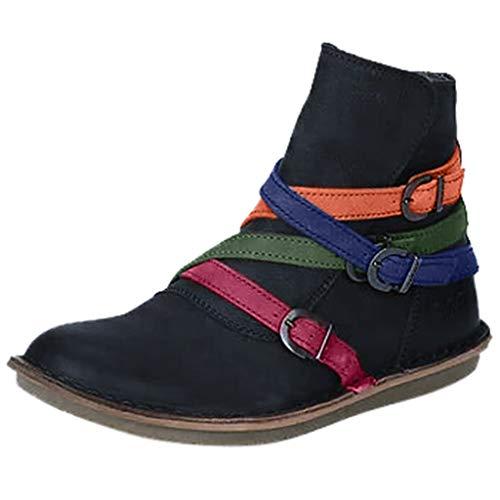 serliy😛Damen Stiefel Round Toe Stiefeletten Cross Belt Buckle Flache Schuhe Booties Frauen Kurz Boots Übergrößen Reißverschluss Flache Schuhe Booties