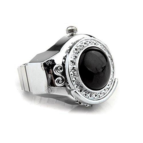 SODIAL(R) Anello con orologio, elastico, con agata nera, rotondo: diametro 20 mm