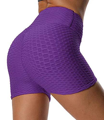 FITTOO Pantalones Cortos Leggings Mujer Mallas Yoga Alta Cintura Elásticos Push Up Suave #1 Violeta M