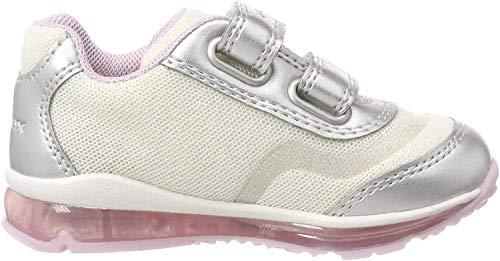 Geox B Todo Girl a, Zapatillas para Bebés, White/Silver C0007, 21 EU