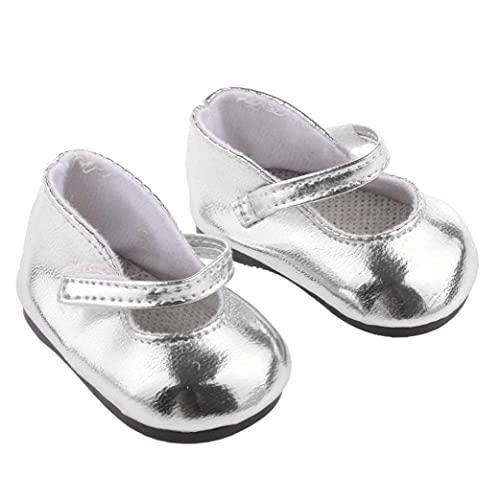 Kacniohen 1 Par Miniatura Zapatos Metálico Brillante De Plata De La Muñeca Fits 18 En Los Zapatos De Niña Adorable Muñeca De Lona