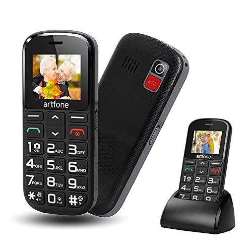Artfone CS182 Teléfono Móvil para Mayores con Teclas Grandes y SOS Botón, Batería de 1400 mAh, Base de Carga, 2G, Fácil de Usar para Mayores