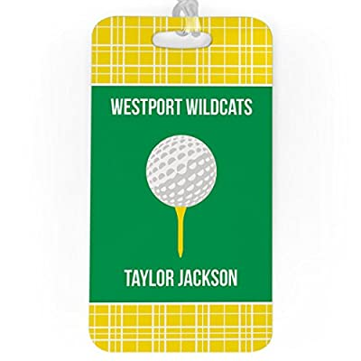 Golf Luggage & Bag Tag | Personalized Team with Golf Ball | Standard Lines on Back | LARGE | YELLOW/GREEN