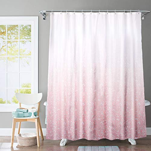 JRing Shower Curtain Polyester Fabric Machine Washable with 12 Hooks 72x72 Inch (Gradient Pink)