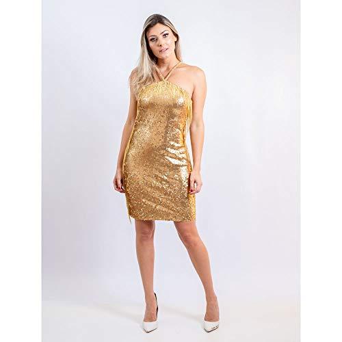 Vestido Curto De Paetê Com Franjas De Corrente - 38
