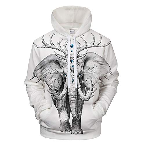 Men Pullover 3D Strange Elephant Print Hoodies Club Casual Street Teenager Sweatshirts Youth Sport,4X-Large
