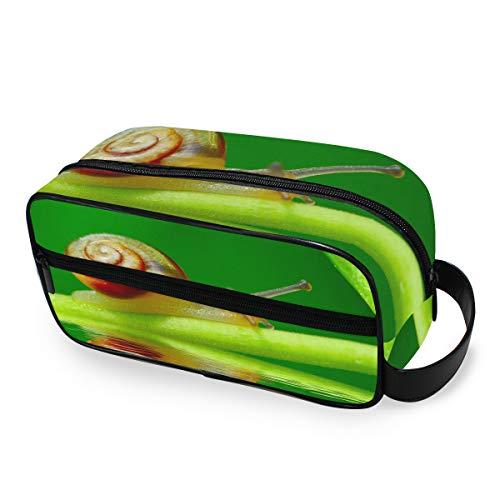 Filles Portable Outils De Stockage Cosmétique Train Cas Voyage Trousse De Toilette Escargot Sur Feuille Verte Jardin Piscine Maquillage Sac