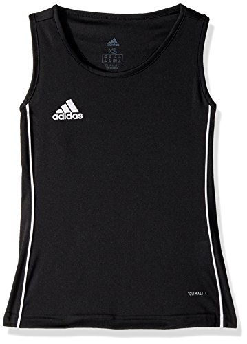 adidas Junior Girls' Core 18 Soccer Tank Top, Black/White, Small