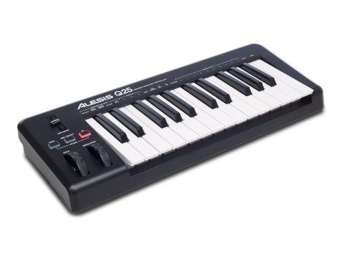 Alesis Q25 - USB MIDI Keyboard Controller mit 25 Tasten, Pitch und Modulation Wheels, Octave Up und Down Buttons und Ableton Live Lite