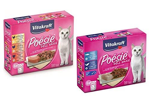 Vitakraft Cibo Umido für Katzen, Poésie Deli Sauce Multipack Fleisch und Fisch, 85 g