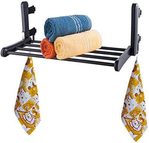 Toallero eléctrico 4 Bar Bar Rack de toallas con calefacción eléctrica 12V Toalla Caliente Secado Cuarto de pared Cuarto de pared Radiador de riel de toalla, Enchufe, Plegado de 90 grados (Negro)