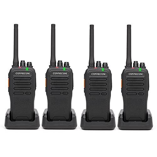 Digital & Analog Two Way Radios - CONNECOM Business Rechargeable 4W High Power Walkie Talkies Suitable for Commercial, Construction, Warehouse Worker, Industrial Factory, Docks, etc. GD100 4Pack