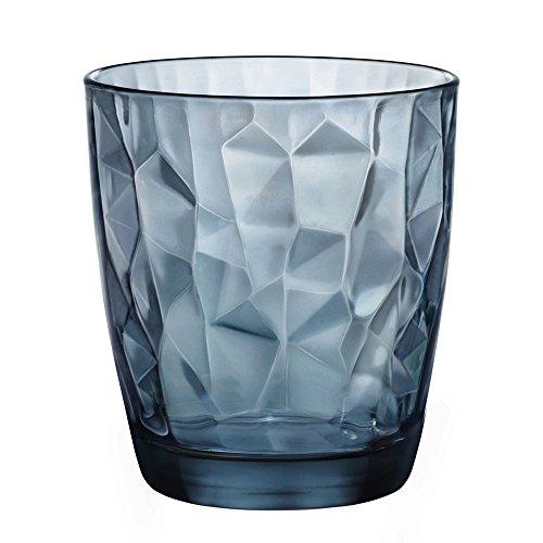 Bormioli Rocco 350220 Diamond Ocean Blue Trinkglas, Wasserglas, Saftglas, 305ml, Glas, blau, 6 Stück