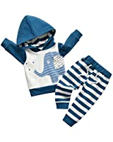 Toddler Infant Baby Boy Clothes Elephant Long Sleeve Hoodie Tops Sweatsuit Pants Outfit Set (12-18 Months) Blue