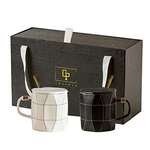 HRDZ Pareja Taza de Agua de cerámica Creativa Taza de Marca de Gran Capacidad Taza de café de Desayuno Simple con Cuchara de Tapa