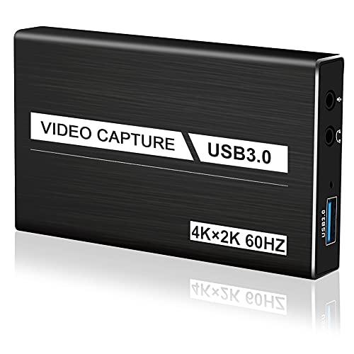 Video Capture Card USB 3.0 4K Audio Videoaufnahmekarte mit tragbarer HDMI-Loop-Out-Aufnahmekarte für Live-Übertragungskonferenzen