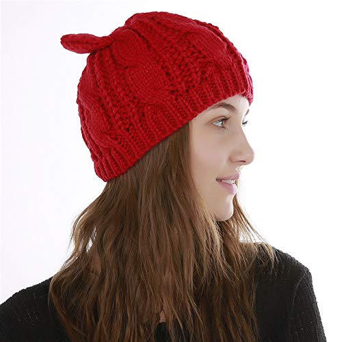 Liandan Autumn And Winter Ladies Windproof Twist Pattern Cute Cat Ears Warm Caps Running Skiing Outdoor Comfortable Ear Protection Knitted Hats (Color : B)