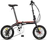 AYHa Adultos bicicleta plegable, plegable compacto de bicicletas, 16' 7 velocidad super compacto Bicicleta plegable peso ligero, estructura reforzada de cercanías bicicletas,rojo
