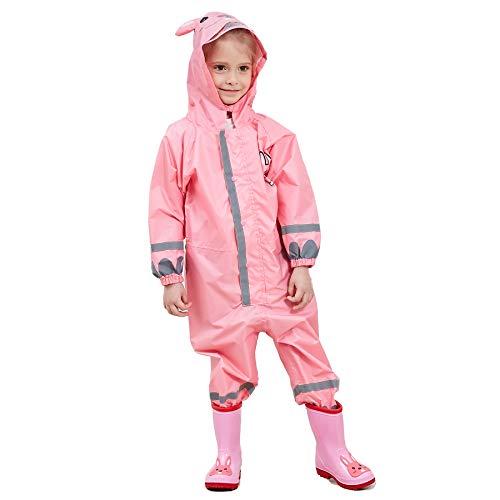 Bwiv Regenmantel Kinder Wasserdicht Atmungsaktiv Regenanzug Einteilig Jungen Mädchen Regenjacke mit Reflektor Leicht Overall ohne Geruch 3-10 Jahre Rosa S