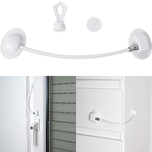 Sicherung für Kühlschrank, Schrank & Türen, mit Magnetschloss, 1 x Schlüssel, abschließbares Klebeschloss, Kindersicherung zum Kleben, Drahtseil, Rückstands-los entfernbar, weiss, Kühlschrankschloss