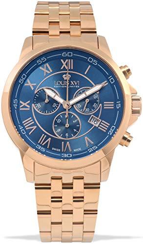LOUIS XVI Herren-Armbanduhr Aramis Stahlband Rosegold Blau Chronograph Analog Quarz Edelstahl 967