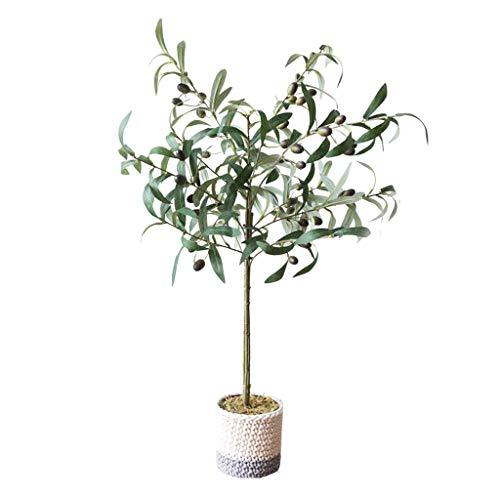 kiter Árbol artificia Olivo Artificial, decoración de vegetación Falsa en Maceta con Ramas Flexibles para decoración de Oficina de jardín Interior al Aire Libre Árboles Artificiales Decoracion
