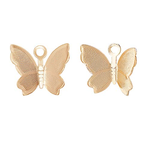 BENECREAT 30 Packs 18K Gold Plated Butterfly Pendants Charms for DIY Necklace Bracelet Earring Jewelry Making Crafts, 10.5x12mm