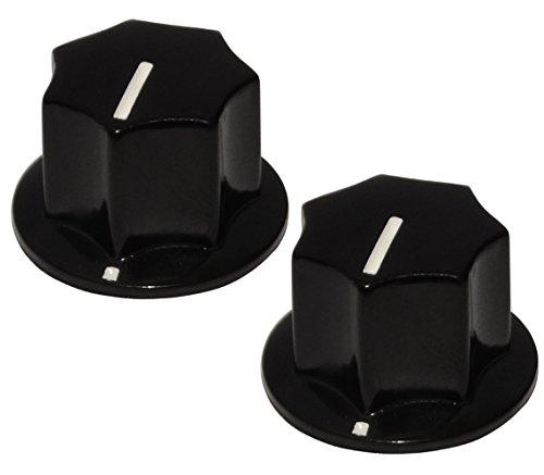 Aerzetix 2 Potentiometer Knöpfe für glatte 6mm Ø18,5x15mm Achse. Farbe: schwarz. Bakelit