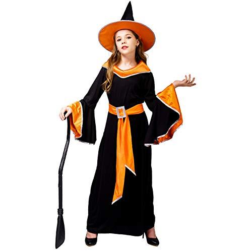 SEA HARE Robe de Sorcière Glamour de La Fille d'halloween (Orange, M:7-9 Ans)
